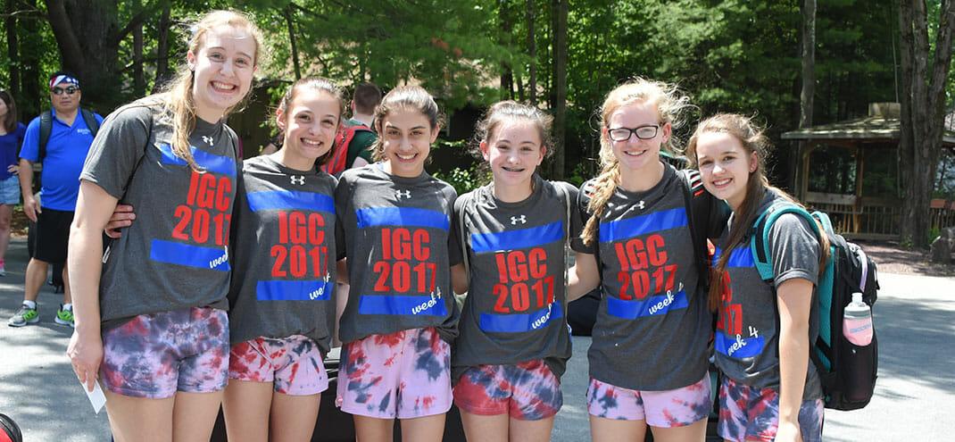 group of girls at international gymnastics camp 2017