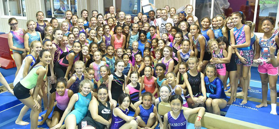 group of gymnasts at camp