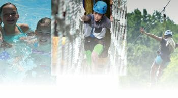 collage of campers at international gymnastics camp zip lining