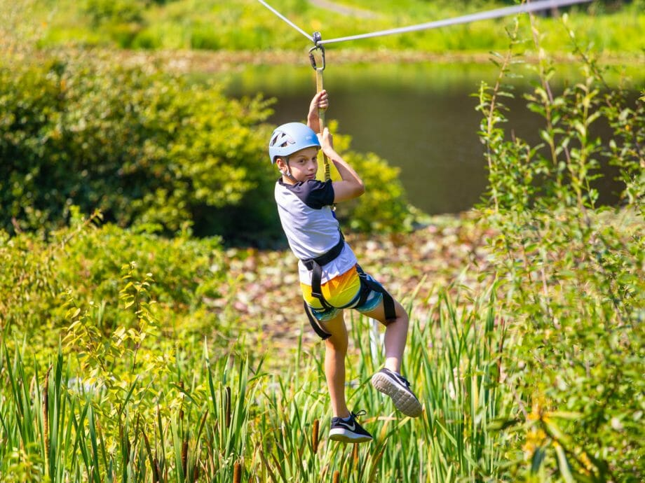 camper on the zipline