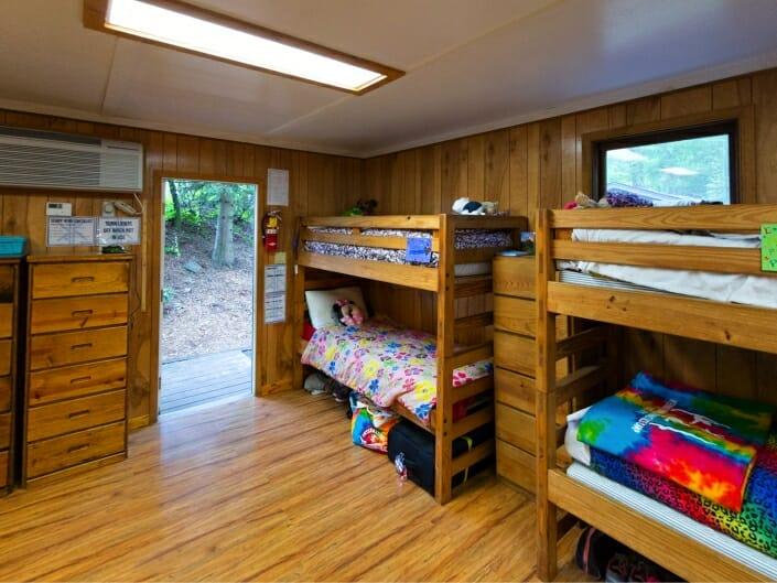 interior of girls cabin at international gymnastics camp