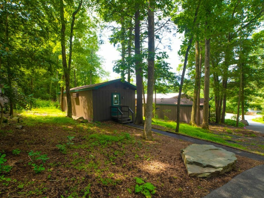 exterior shot of a cabin situated in a wooded area of the camp