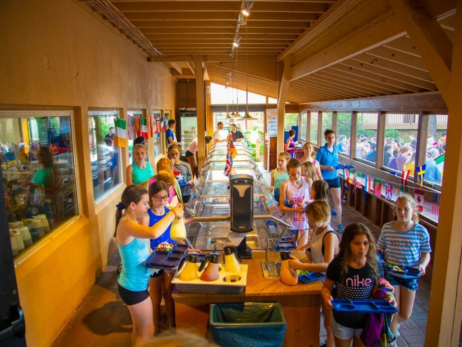 girls in cafe at camp