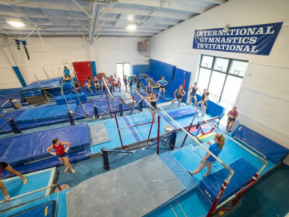 overhead view of the bars gym