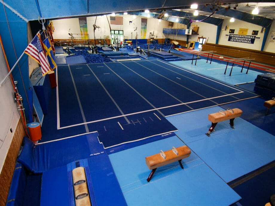 corner view of the mats and pommel horses