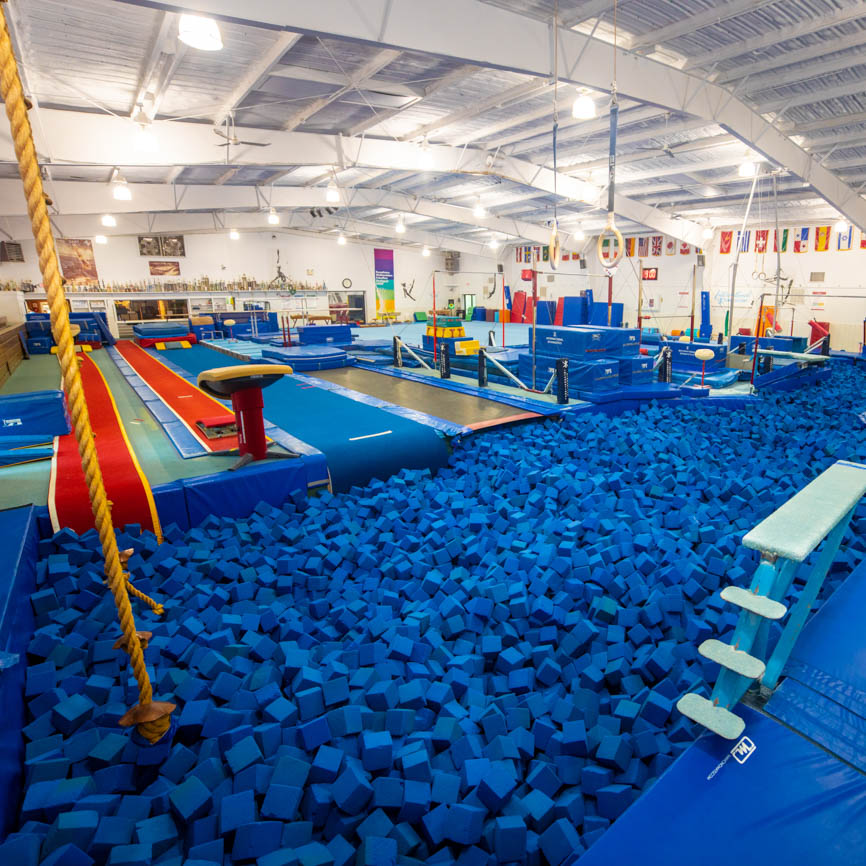 olympic gym with large foam pit