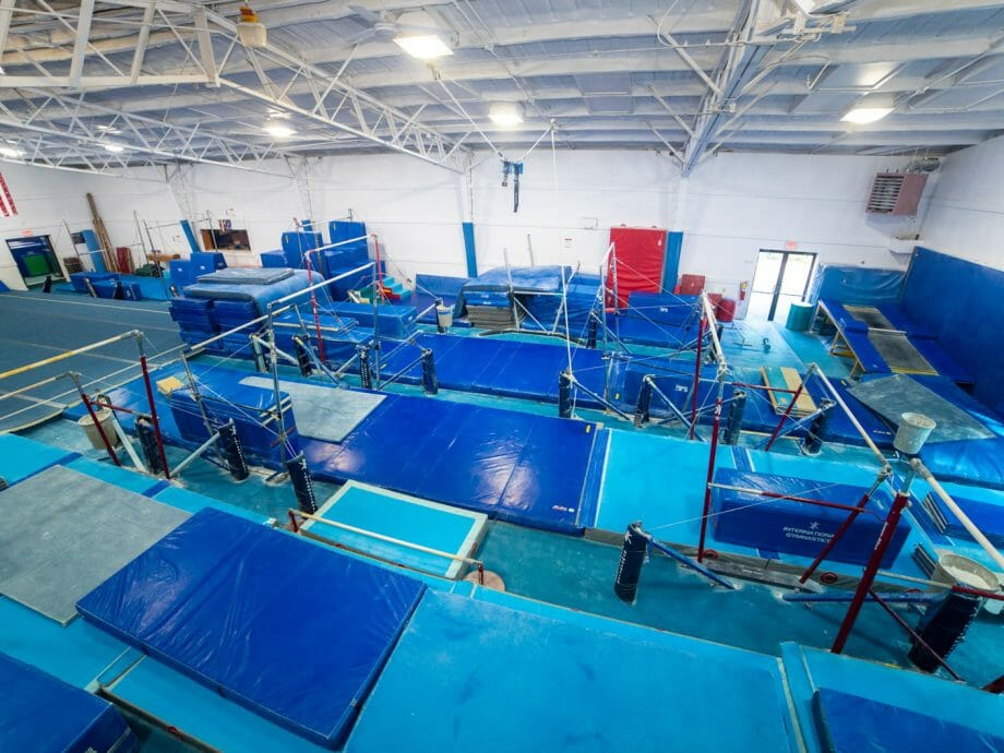 top-down view of the bar gym with the uneven bars and high bar