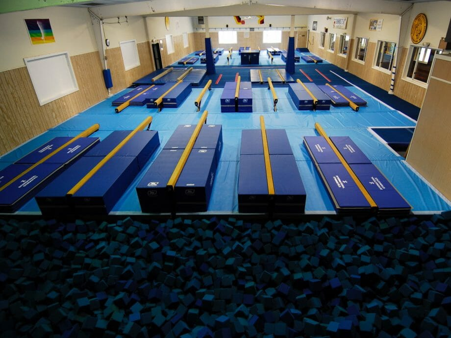 balance beam dismount area with foam pit