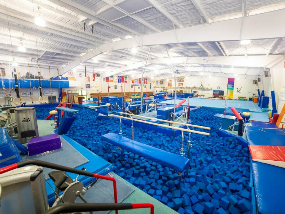 olympic gymnast training gym foam pit