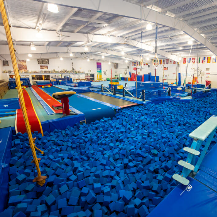 view from the corner of the olympic gym and it's large foam pit
