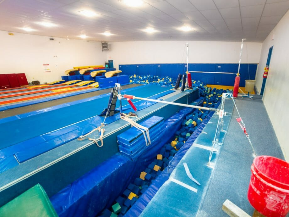 vault gym with pit to practice beam exercises