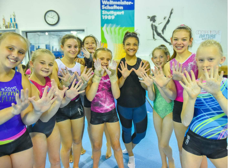 girls with gymnast gabby hernandez
